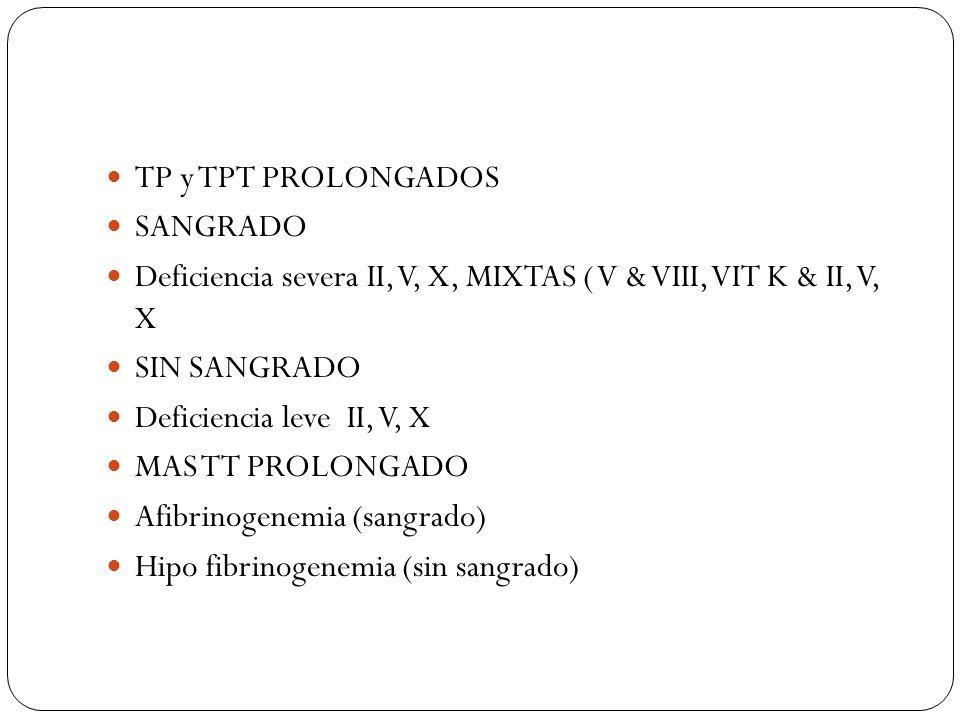 TP y TPT PROLONGADOS SANGRADO Deficiencia severa II, V, X, MIXTAS ( V & VIII, VIT K & II, V, X SIN SANGRADO Deficiencia leve II, V, X MAS TT PROLONGAD