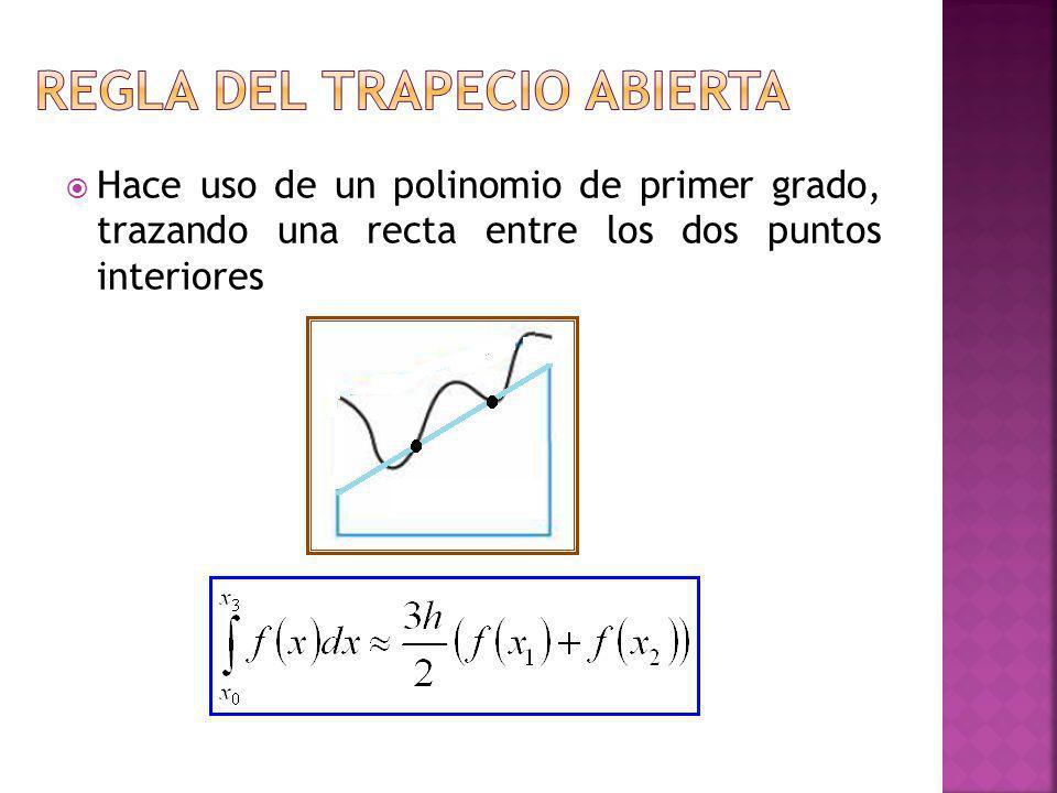 Hace uso de un polinomio de primer grado, trazando una recta entre los dos puntos interiores