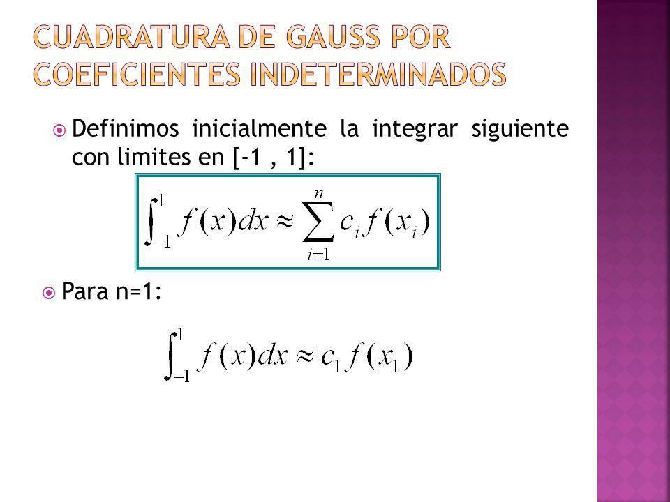 Para n=1: Definimos inicialmente la integrar siguiente con limites en [-1, 1]: