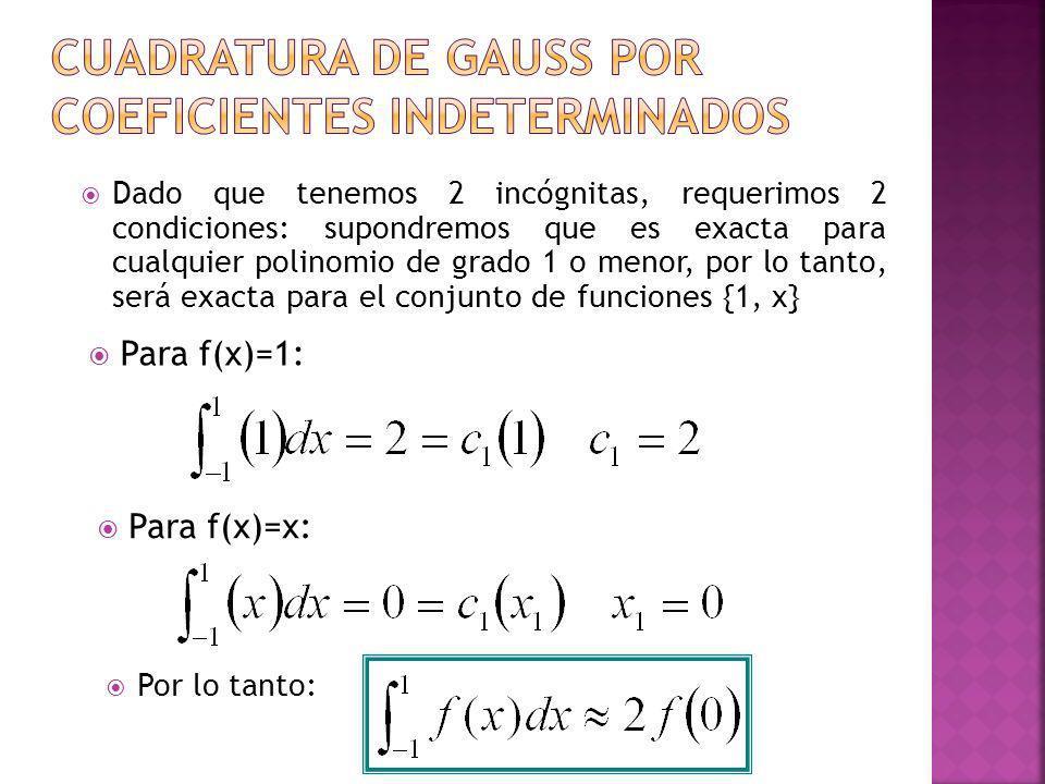 Para f(x)=1: Dado que tenemos 2 incógnitas, requerimos 2 condiciones: supondremos que es exacta para cualquier polinomio de grado 1 o menor, por lo ta