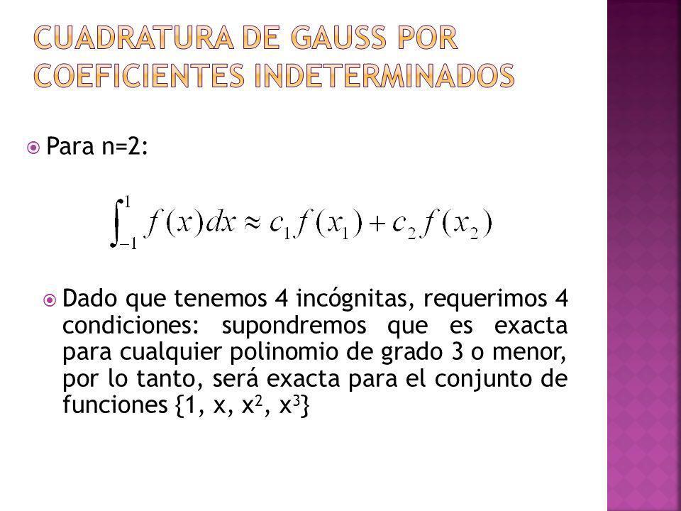 Para n=2: Dado que tenemos 4 incógnitas, requerimos 4 condiciones: supondremos que es exacta para cualquier polinomio de grado 3 o menor, por lo tanto