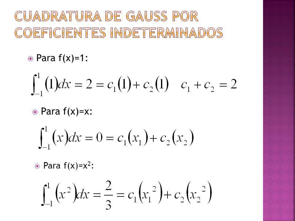 Para f(x)=1: Para f(x)=x: Para f(x)=x 2 :