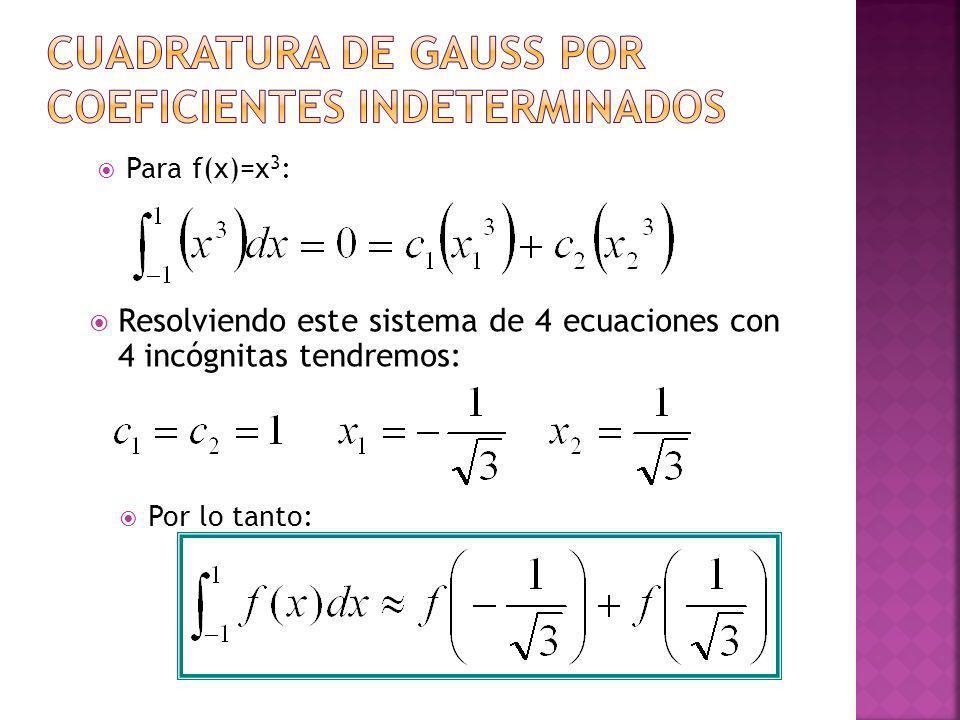 Resolviendo este sistema de 4 ecuaciones con 4 incógnitas tendremos: Para f(x)=x 3 : Por lo tanto: