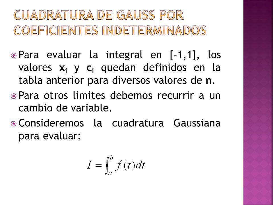 Para evaluar la integral en [-1,1], los valores x i y c i quedan definidos en la tabla anterior para diversos valores de n. Para otros limites debemos