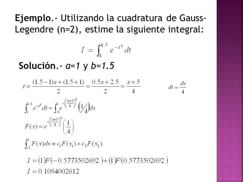 Ejemplo.- Utilizando la cuadratura de Gauss- Legendre (n=2), estime la siguiente integral: Solución.- a=1 y b=1.5