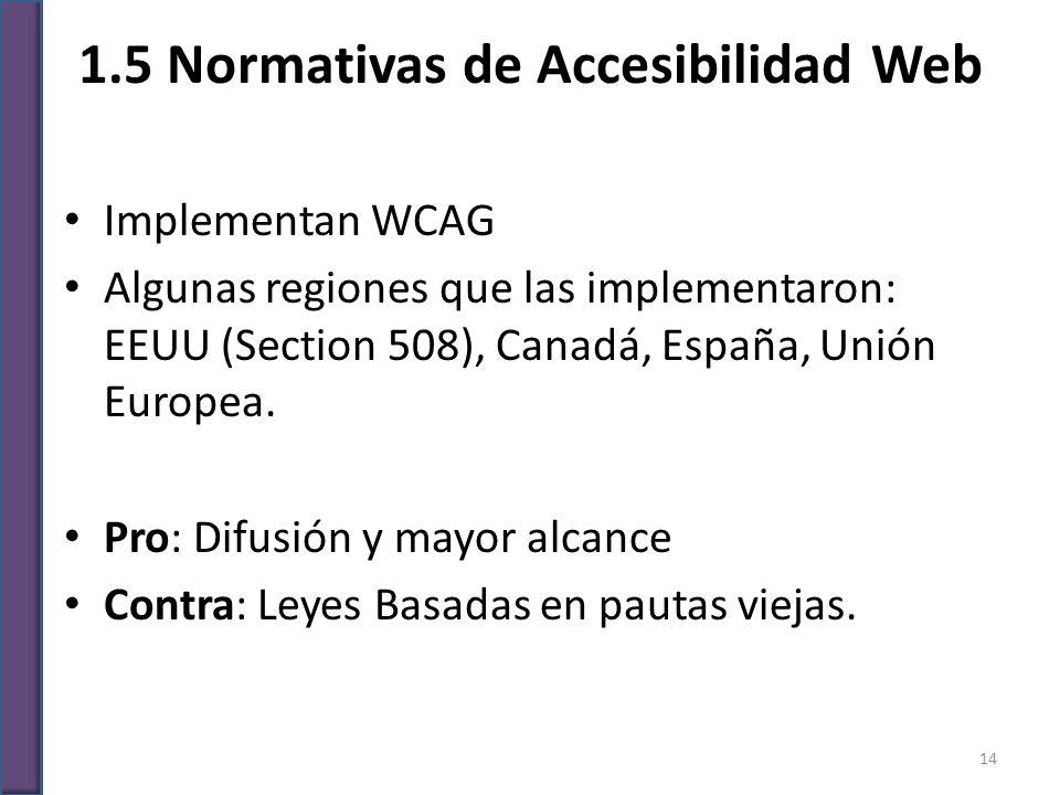 1.5 Normativas de Accesibilidad Web Implementan WCAG Algunas regiones que las implementaron: EEUU (Section 508), Canadá, España, Unión Europea. Pro: D