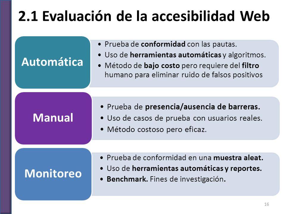 2.1 Evaluación de la accesibilidad Web Prueba de conformidad con las pautas. Uso de herramientas automáticas y algoritmos. Método de bajo costo pero r