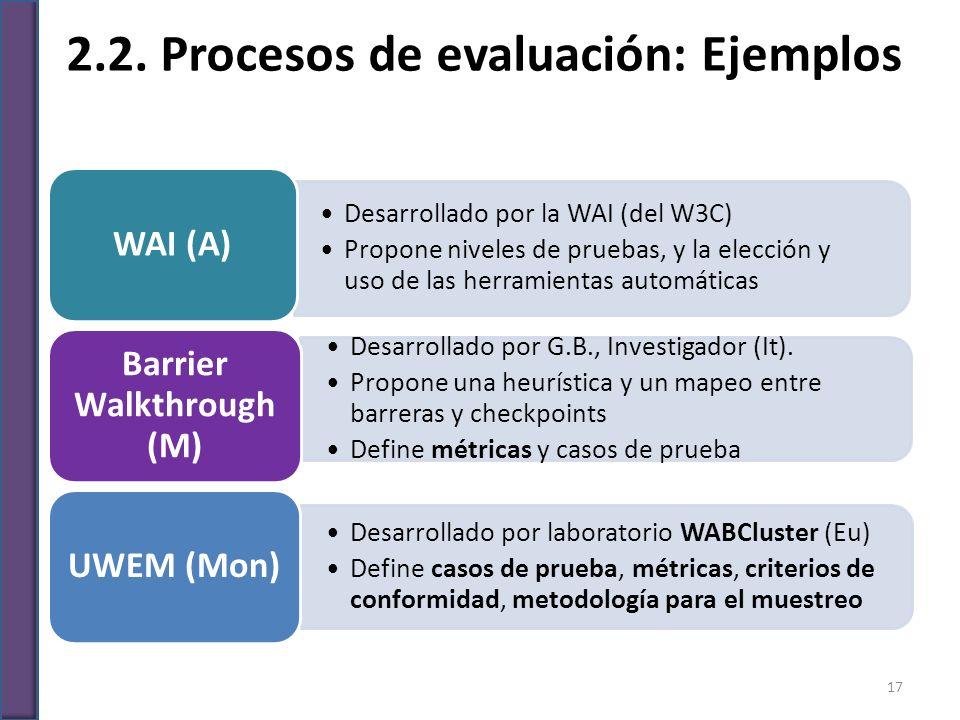 2.2. Procesos de evaluación: Ejemplos Desarrollado por la WAI (del W3C) Propone niveles de pruebas, y la elección y uso de las herramientas automática