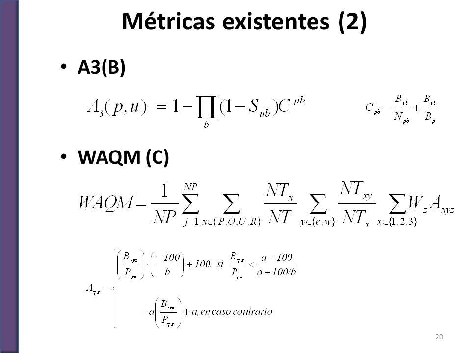 A3(B) WAQM (C) Métricas existentes (2) 20