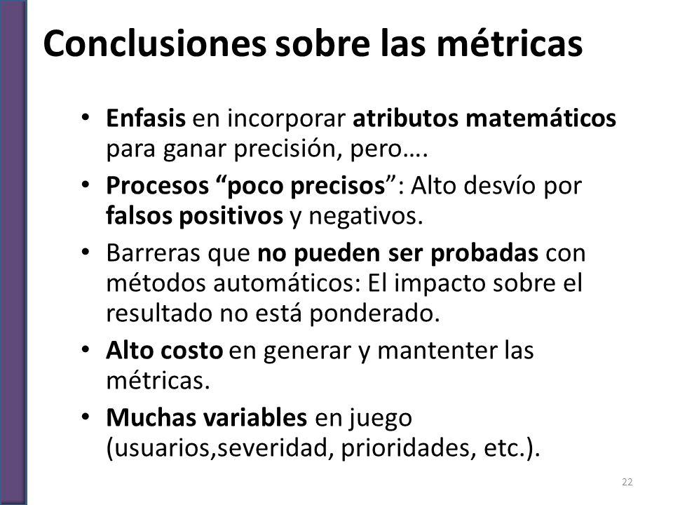 Conclusiones sobre las métricas Enfasis en incorporar atributos matemáticos para ganar precisión, pero…. Procesos poco precisos: Alto desvío por falso
