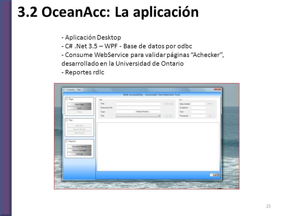 3.2 OceanAcc: La aplicación - Aplicación Desktop - C#.Net 3.5 – WPF - Base de datos por odbc - Consume WebService para validar páginas Achecker, desar