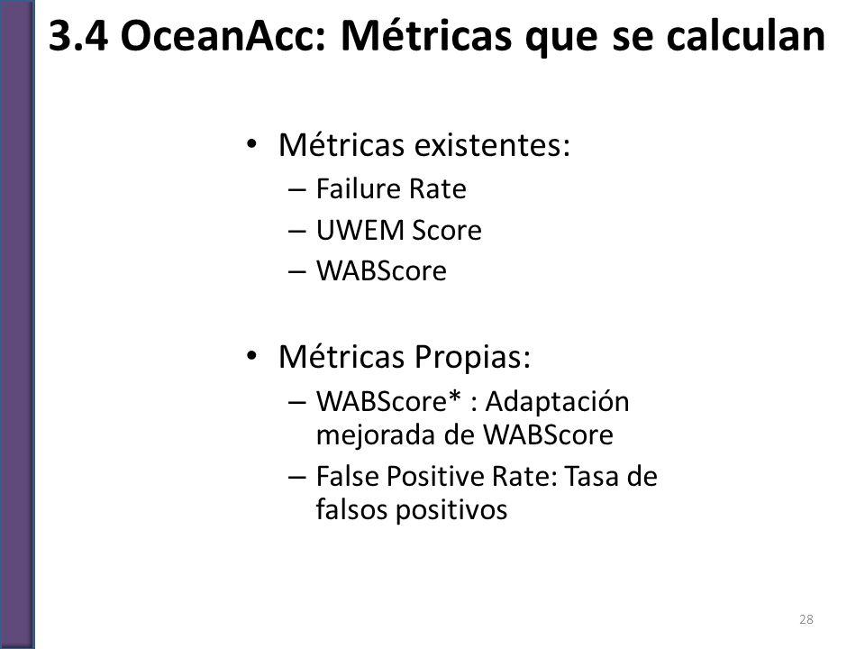 Métricas existentes: – Failure Rate – UWEM Score – WABScore Métricas Propias: – WABScore* : Adaptación mejorada de WABScore – False Positive Rate: Tas