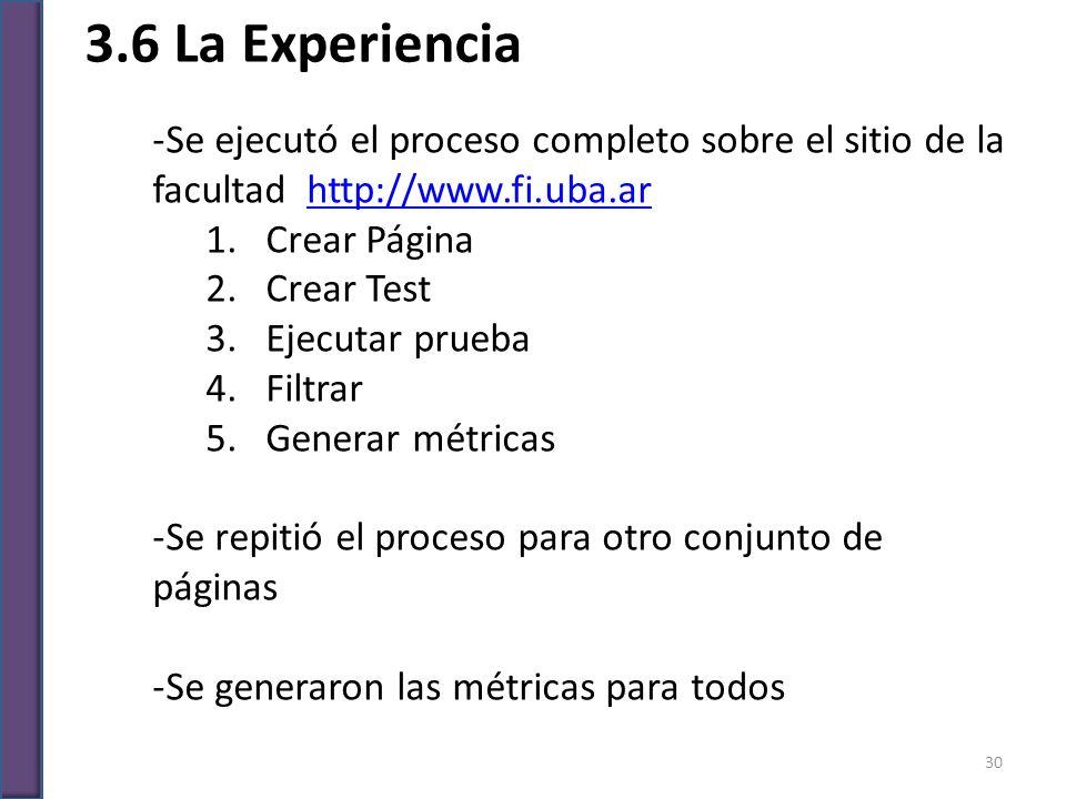 3.6 La Experiencia -Se ejecutó el proceso completo sobre el sitio de la facultad http://www.fi.uba.arhttp://www.fi.uba.ar 1.Crear Página 2.Crear Test