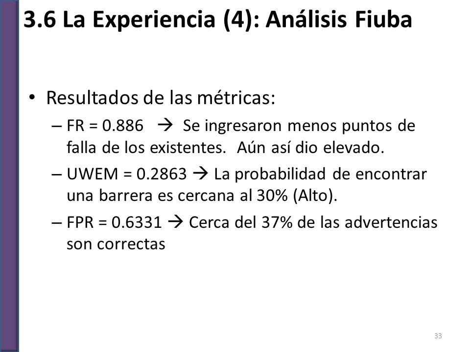 3.6 La Experiencia (4): Análisis Fiuba Resultados de las métricas: – FR = 0.886 Se ingresaron menos puntos de falla de los existentes. Aún así dio ele