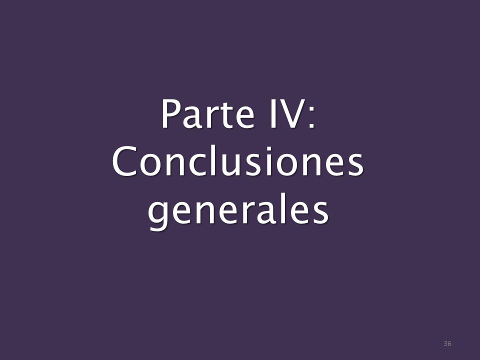 Parte IV: Conclusiones generales 36