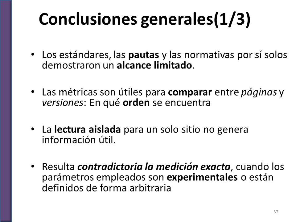 Conclusiones generales(1/3) Los estándares, las pautas y las normativas por sí solos demostraron un alcance limitado. Las métricas son útiles para com