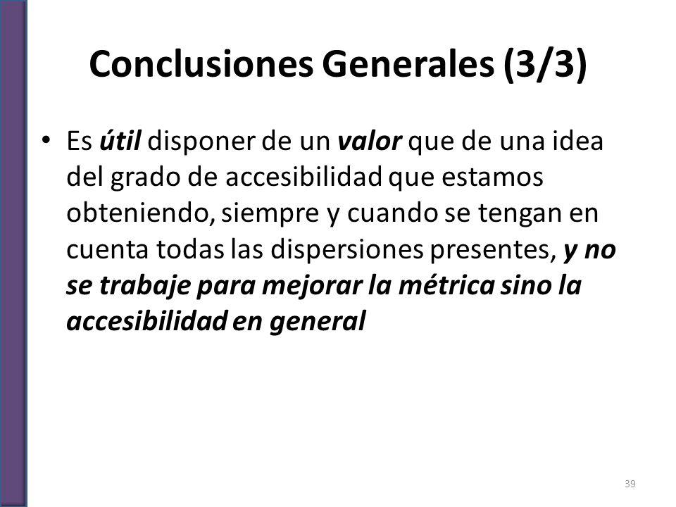 Conclusiones Generales (3/3) Es útil disponer de un valor que de una idea del grado de accesibilidad que estamos obteniendo, siempre y cuando se tenga