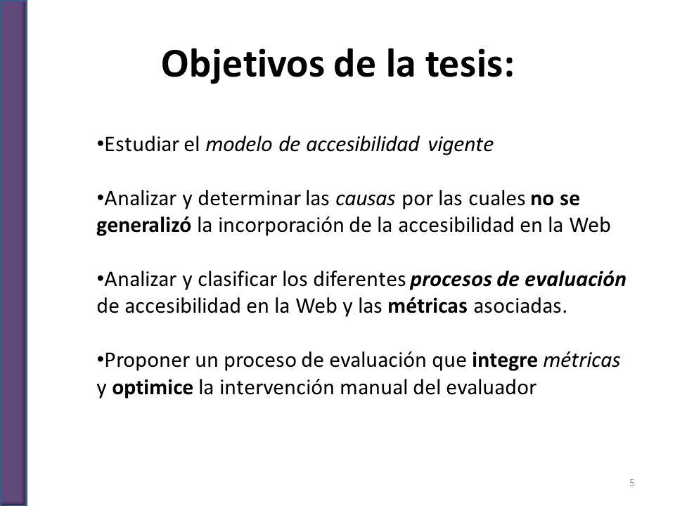 Objetivos de la tesis: Estudiar el modelo de accesibilidad vigente Analizar y determinar las causas por las cuales no se generalizó la incorporación d