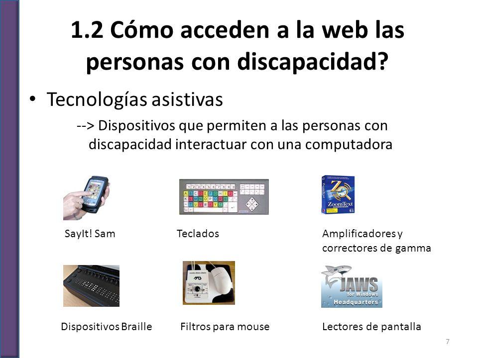 1.2 Cómo acceden a la web las personas con discapacidad? Tecnologías asistivas --> Dispositivos que permiten a las personas con discapacidad interactu