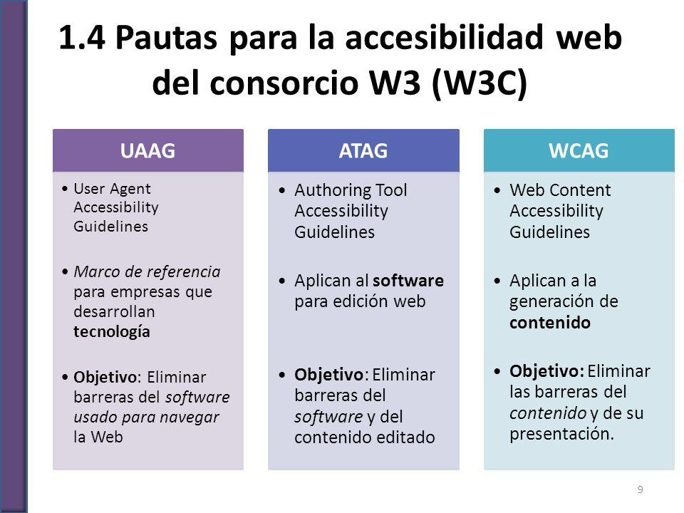 1.4 Pautas para la accesibilidad web del consorcio W3 (W3C) UAAG User Agent Accessibility Guidelines Marco de referencia para empresas que desarrollan