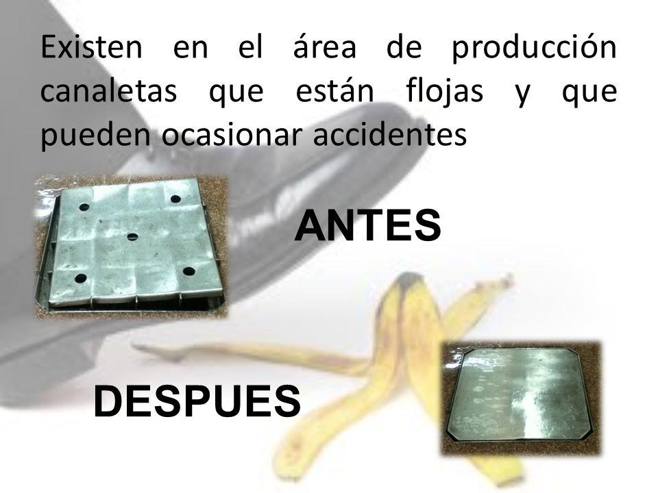 Existen en el área de producción canaletas que están flojas y que pueden ocasionar accidentes ANTES DESPUES