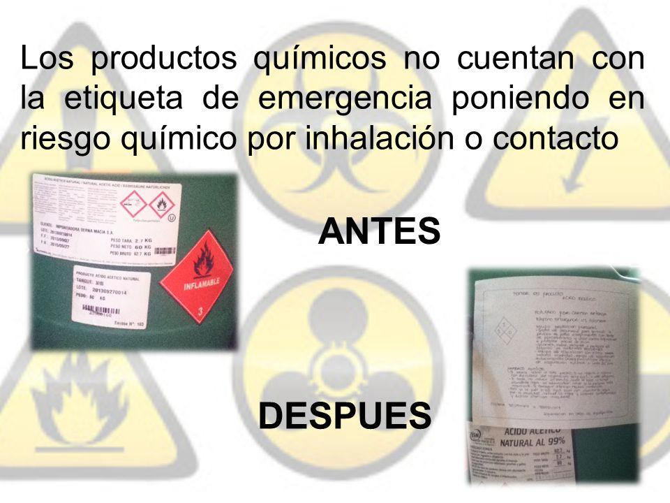 Los productos químicos no cuentan con la etiqueta de emergencia poniendo en riesgo químico por inhalación o contacto ANTES DESPUES