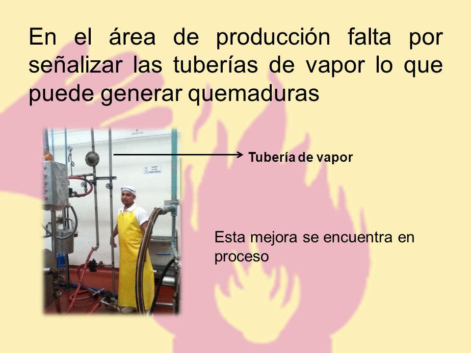 En el área de producción falta por señalizar las tuberías de vapor lo que puede generar quemaduras Esta mejora se encuentra en proceso Tubería de vapor