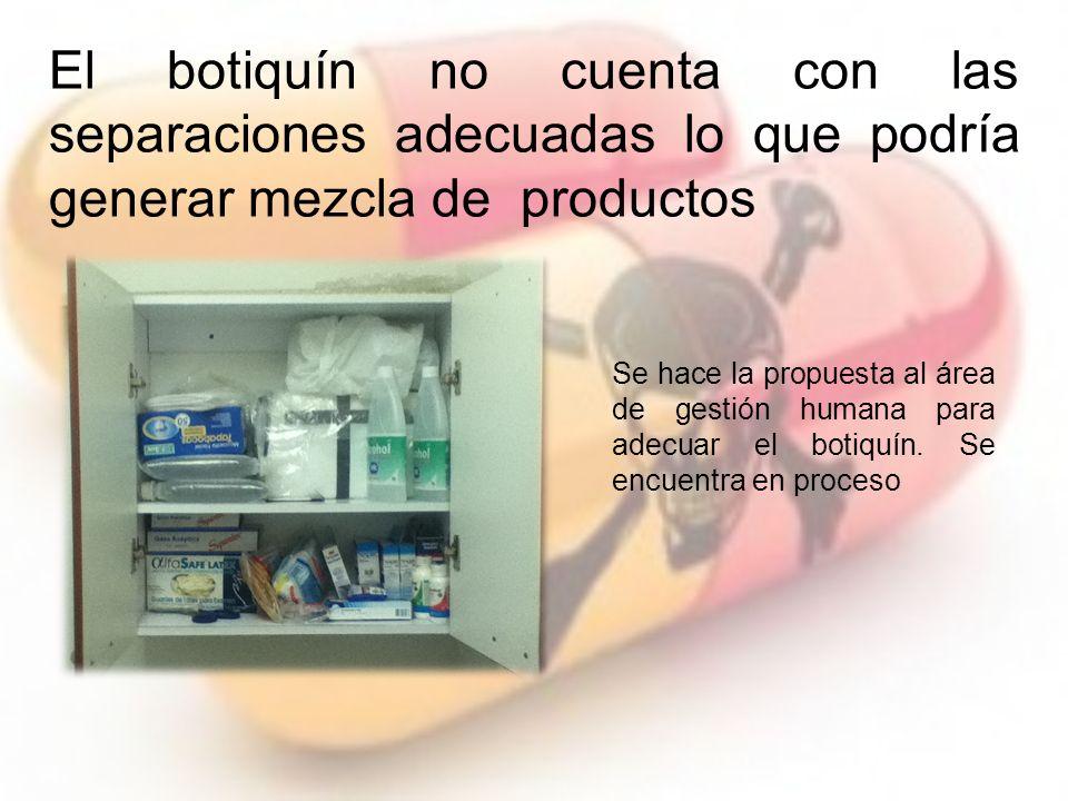 El botiquín no cuenta con las separaciones adecuadas lo que podría generar mezcla de productos Se hace la propuesta al área de gestión humana para adecuar el botiquín.