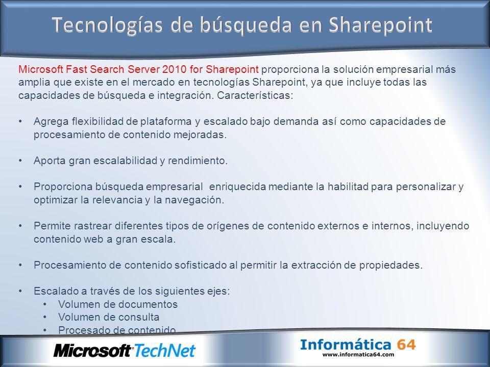 Microsoft Fast Search Server 2010 for Sharepoint proporciona la solución empresarial más amplia que existe en el mercado en tecnologías Sharepoint, ya que incluye todas las capacidades de búsqueda e integración.