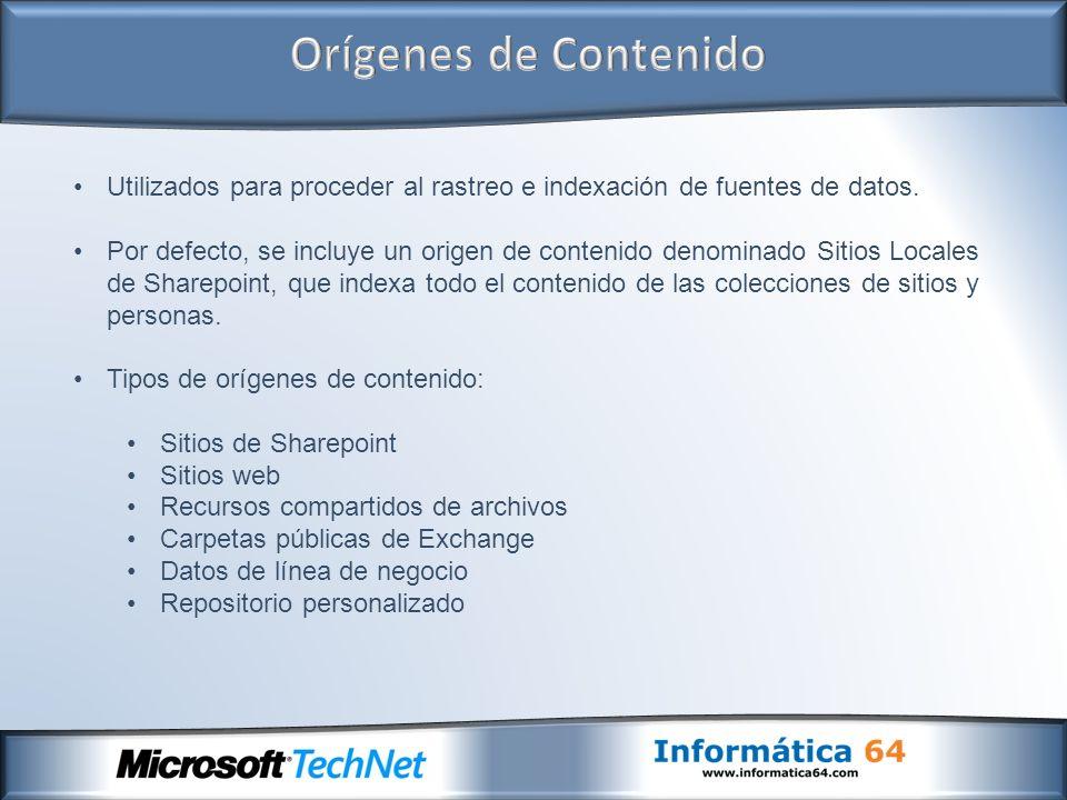 Utilizados para proceder al rastreo e indexación de fuentes de datos. Por defecto, se incluye un origen de contenido denominado Sitios Locales de Shar