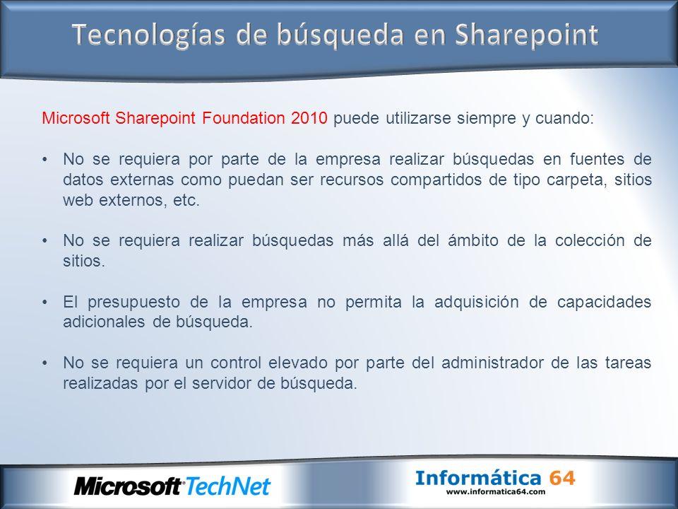 Microsoft Sharepoint Foundation 2010 puede utilizarse siempre y cuando: No se requiera por parte de la empresa realizar búsquedas en fuentes de datos externas como puedan ser recursos compartidos de tipo carpeta, sitios web externos, etc.