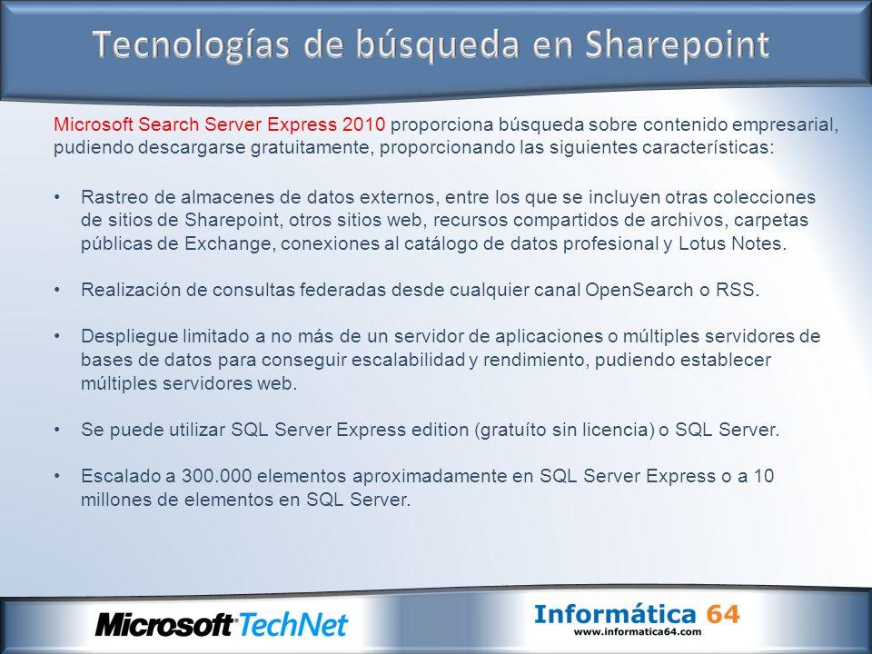 Microsoft Search Server Express 2010 proporciona búsqueda sobre contenido empresarial, pudiendo descargarse gratuitamente, proporcionando las siguient
