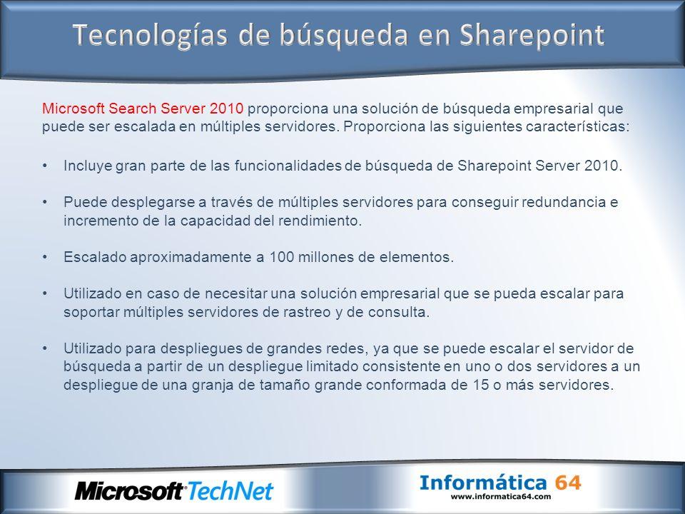 Microsoft Search Server 2010 proporciona una solución de búsqueda empresarial que puede ser escalada en múltiples servidores. Proporciona las siguient