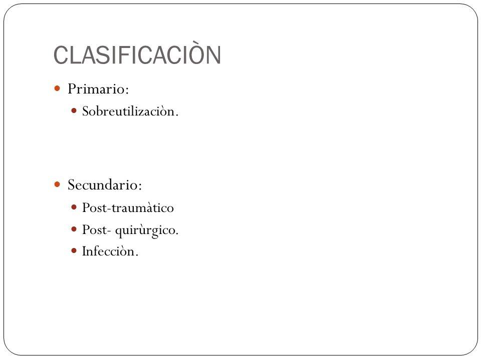 CLASIFICACIÒN Primario: Sobreutilizaciòn. Secundario: Post-traumàtico Post- quirùrgico. Infecciòn.