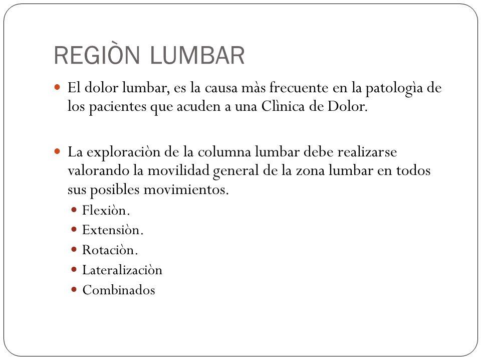 REGIÒN LUMBAR El dolor lumbar, es la causa màs frecuente en la patologìa de los pacientes que acuden a una Clìnica de Dolor.
