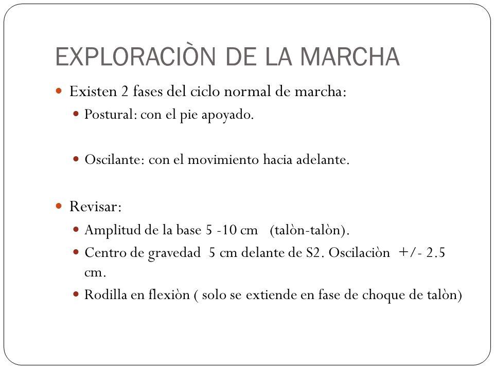 EXPLORACIÒN DE LA MARCHA Existen 2 fases del ciclo normal de marcha: Postural: con el pie apoyado. Oscilante: con el movimiento hacia adelante. Revisa