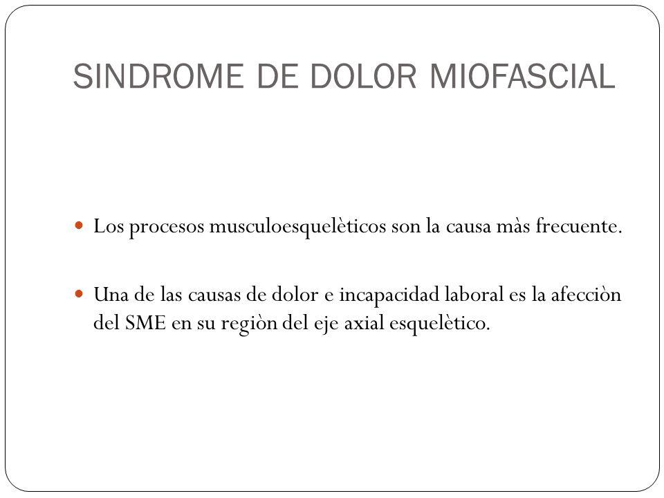 SINDROME DE DOLOR MIOFASCIAL Definiciòn: Es un cuadro clìnico caracterizado por dolor regional de origen muscular localizado en el musculo o grupo muscular; es por tanto, un proceso de tejidos blandos del aparato locomotor.