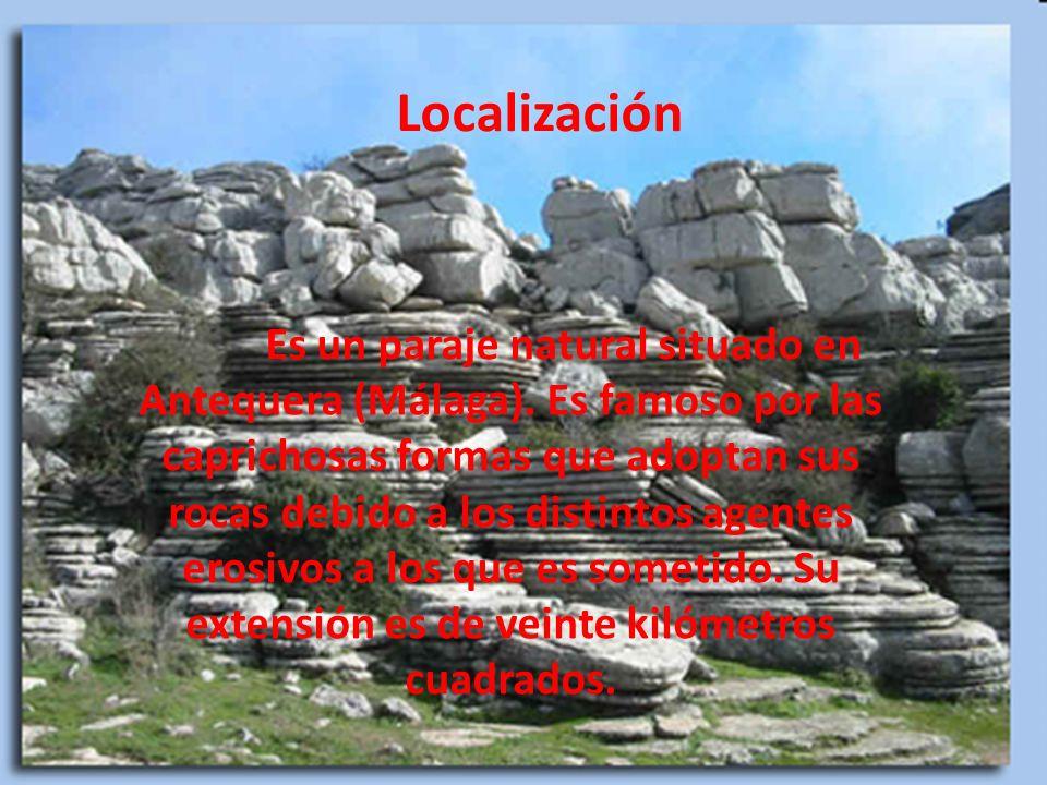 Localización Es un paraje natural situado en Antequera (Málaga). Es famoso por las caprichosas formas que adoptan sus rocas debido a los distintos age