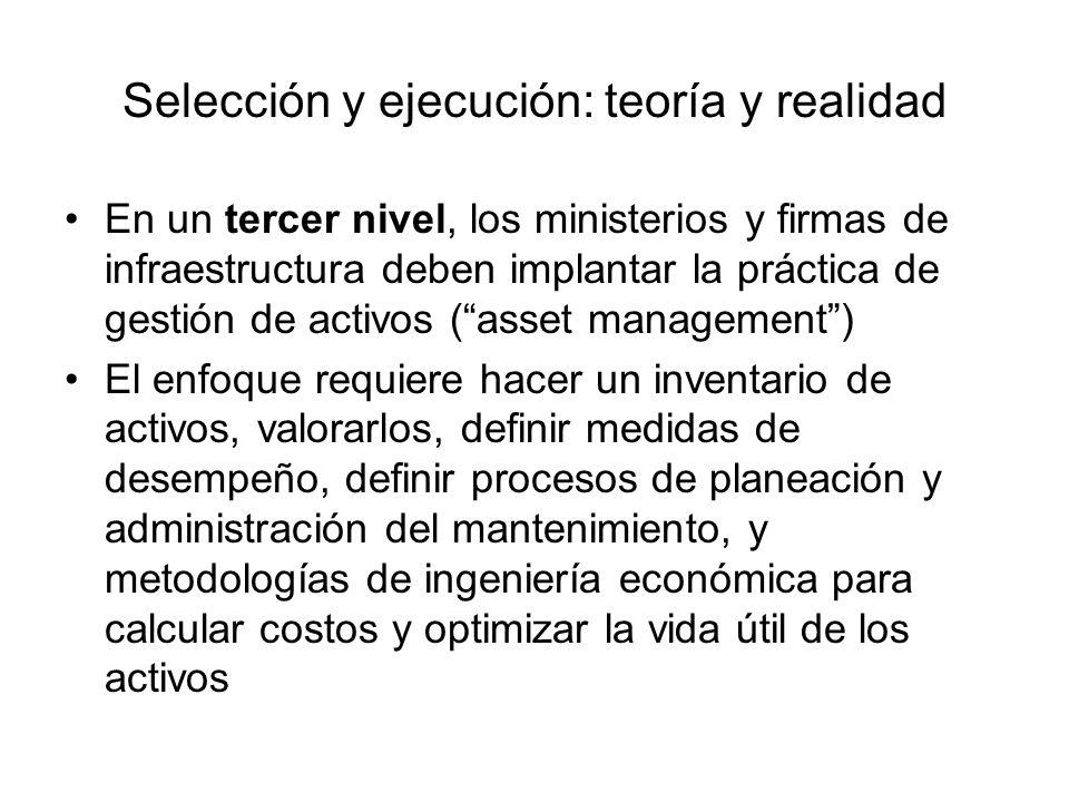 Selección y ejecución: teoría y realidad En un tercer nivel, los ministerios y firmas de infraestructura deben implantar la práctica de gestión de act