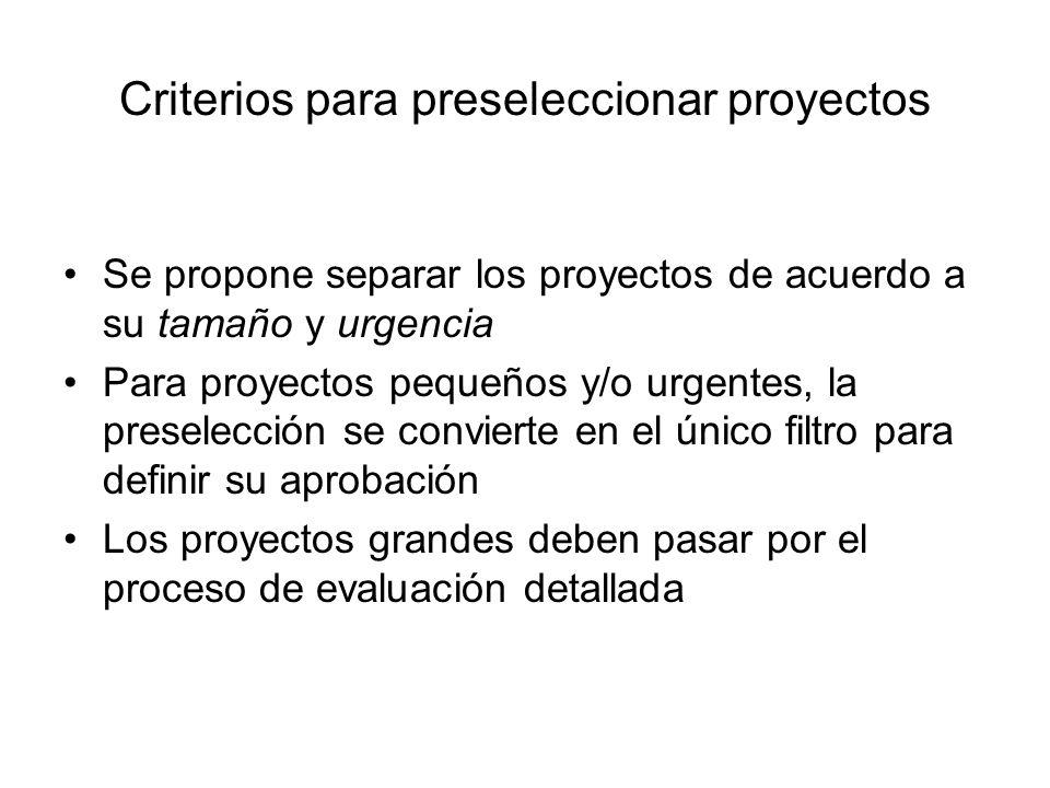 Criterios para preseleccionar proyectos Se propone separar los proyectos de acuerdo a su tamaño y urgencia Para proyectos pequeños y/o urgentes, la pr