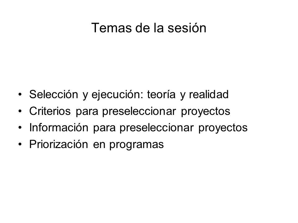 Temas de la sesión Selección y ejecución: teoría y realidad Criterios para preseleccionar proyectos Información para preseleccionar proyectos Prioriza