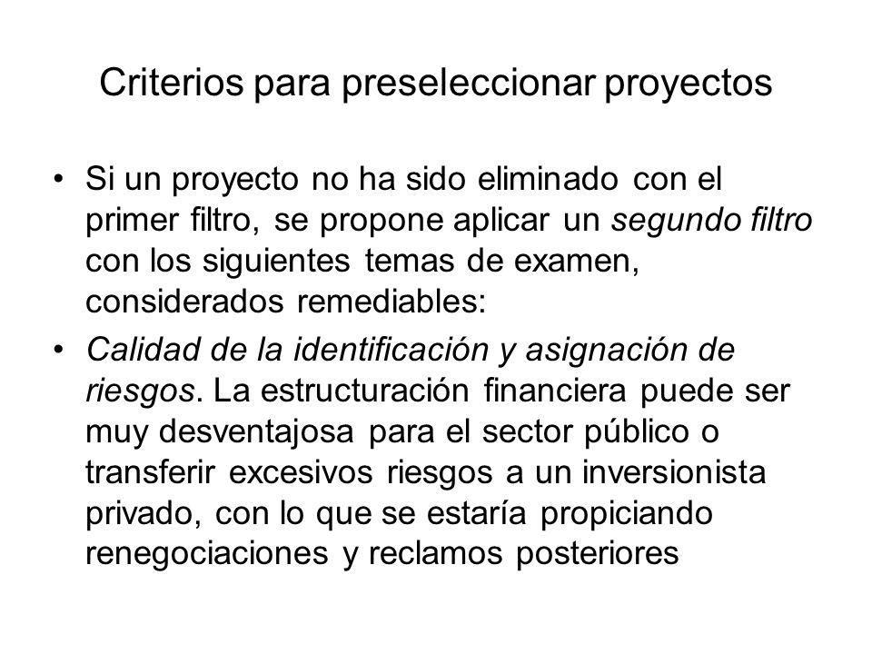 Criterios para preseleccionar proyectos Si un proyecto no ha sido eliminado con el primer filtro, se propone aplicar un segundo filtro con los siguien