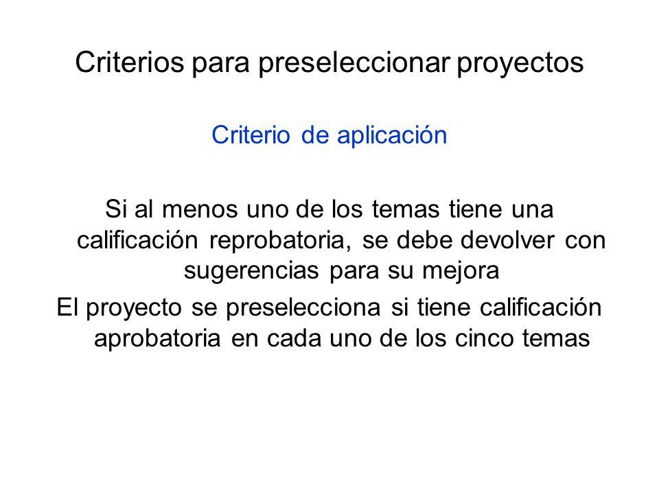 Criterios para preseleccionar proyectos Criterio de aplicación Si al menos uno de los temas tiene una calificación reprobatoria, se debe devolver con