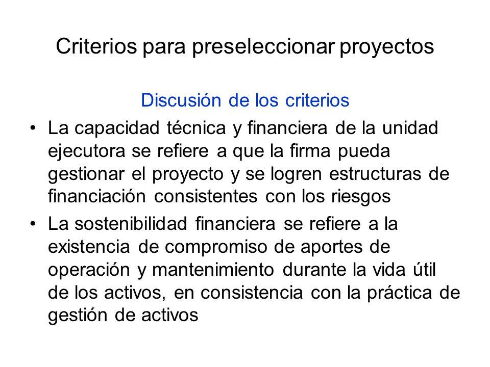 Criterios para preseleccionar proyectos Discusión de los criterios La capacidad técnica y financiera de la unidad ejecutora se refiere a que la firma