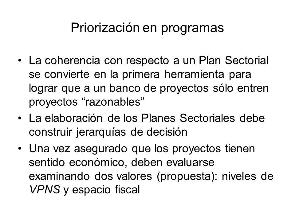 Priorización en programas La coherencia con respecto a un Plan Sectorial se convierte en la primera herramienta para lograr que a un banco de proyecto
