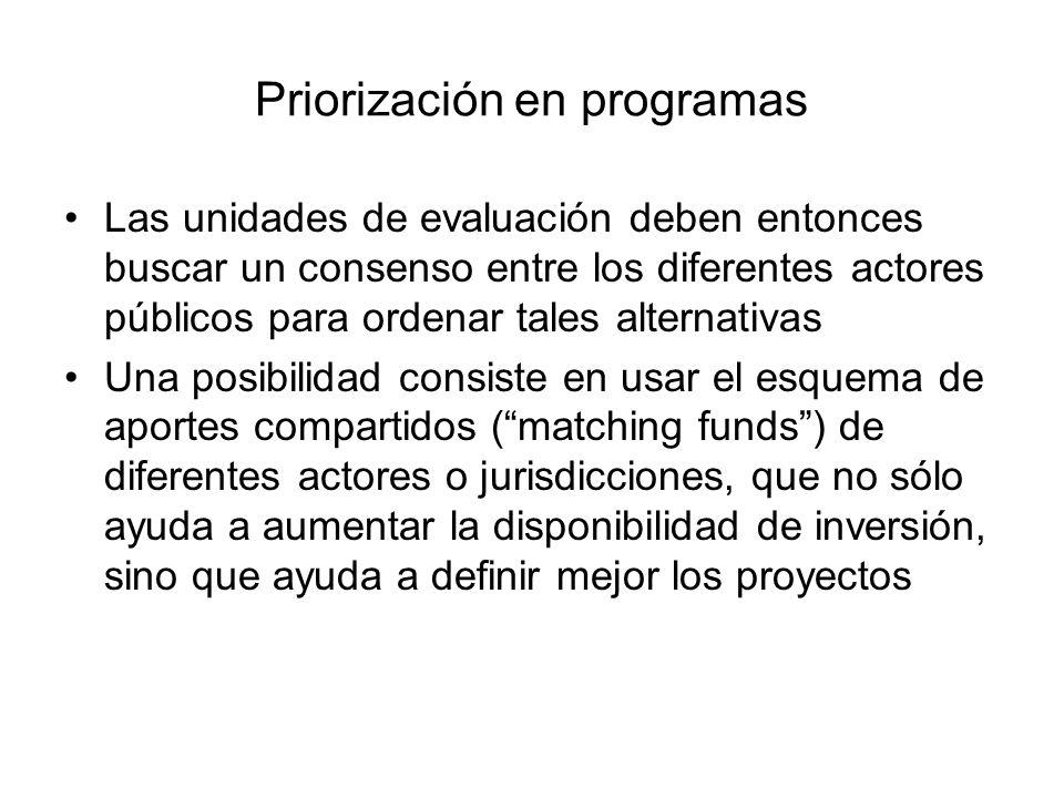 Priorización en programas Las unidades de evaluación deben entonces buscar un consenso entre los diferentes actores públicos para ordenar tales altern