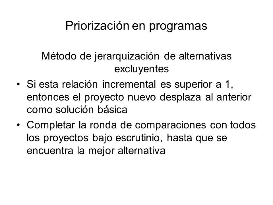 Priorización en programas Método de jerarquización de alternativas excluyentes Si esta relación incremental es superior a 1, entonces el proyecto nuev