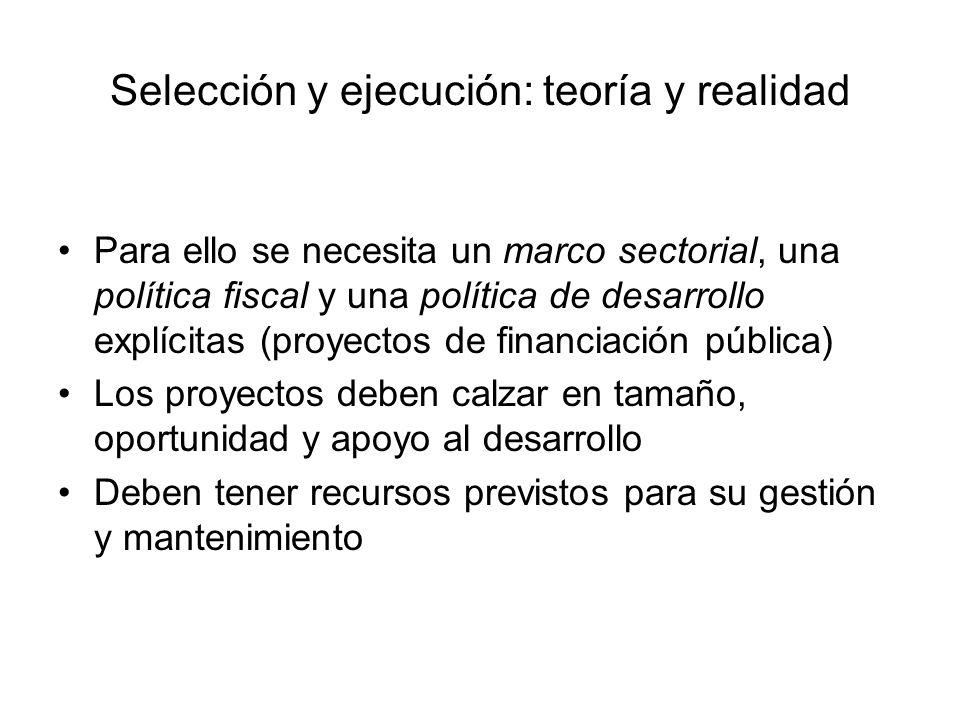 Selección y ejecución: teoría y realidad Para ello se necesita un marco sectorial, una política fiscal y una política de desarrollo explícitas (proyec