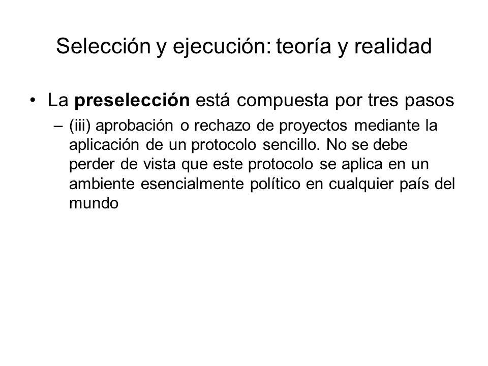 Selección y ejecución: teoría y realidad La preselección está compuesta por tres pasos –(iii) aprobación o rechazo de proyectos mediante la aplicación