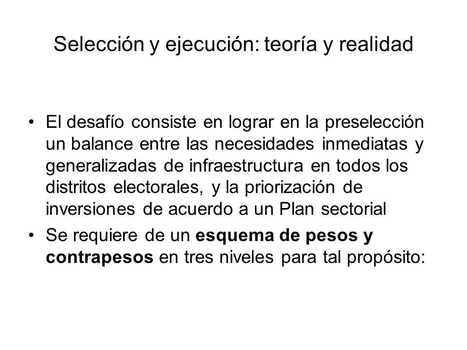 Criterios para preseleccionar proyectos Consistencia con planes sectoriales predefinidos.